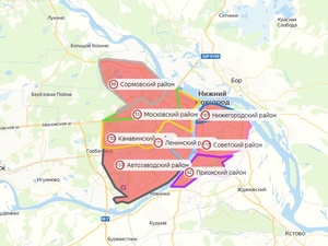 Карта заразившихся коронавирусом в Нижнем Новгороде